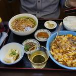 中華料理福泉餃子 - 友人の麻婆豆腐と台湾ラーメンの定食