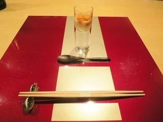野嵯和 - 大地の雫のすり流しにオリーブ、雲丹をのせて お出汁醤油