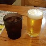 金太郎 - ランチビール(比較用のお冷と共に)