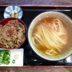 瀬戸内製麺710 - ひやかけ&牛めしセット(H26.10.11)