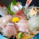割烹 水天閣 - 御刺身盛合定食(2160円)・左から真鯛、縞かつお、のどぐろ、あわび、真いか、ひらめ、わらさ