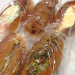 31448086 - コロッケサラダ、ササミパン、ハッシュタマゴ、ハムカツ、焼きそば