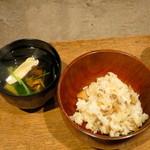 柳家 - きのこご飯と松茸、鮎のお吸い物