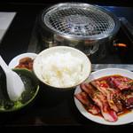 ときわ亭 - 牛カルビ,ハラミ定食