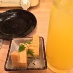 博多屋 - お通し(玉子焼き)と沖縄シークワーサーサワー