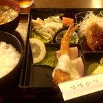 味噌かつ安兵衛 - Cランチ(ヒレかつとエビフライ)850円