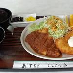 とんとん亭 - 日替り¥750は、ミニとんかつ、平目フライ、豚汁で充実してます