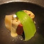 みや - 26年10月 牛ミスジ肉、近江コンニャク、所沢里芋 牛乳と西京味噌のソース