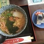 ふれあい名産館 まつや - 紀州梅うどん680円&さんま寿司2切れ160円