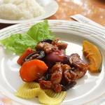 スターアイル - 料理写真:ミュージアムランチ(パンプキンのポタージュ、茶美豚の酢豚、ライス