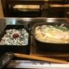 田舎そば みゆき - 料理写真:「文化定食」750円、肉なべきしめんと、日の丸ご飯のセットです
