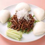 中華風家庭料理 開 - 細切り豚肉と蒸しパン