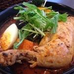 スープカレー スアゲ2 - チキンレッグと野菜カレー、チキンレッグは煮込みで!