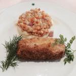 ラブレー - 若鶏胸肉のキエフ風カツレツ       レンズ豆の田舎風煮込み添え