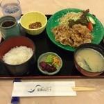 ホテル星羅四万十 - 生姜焼き定食  美味しく頂きました! 今日は昨日の台風の影響で川魚などはなかったらしいです。