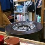 金屋食堂 - 懐かしいテーブルタイプのストーブもあります