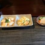 とりまんま - ポテサラに豆腐のそぼろ餡