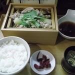 31565658 - 豚ばら肉とたっぷり野菜のせいろ膳(1000円)