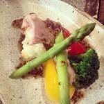 トリ風土レストラン the Open - ハラミのポッシェとゴロゴロ野菜、マスタードドレッシング