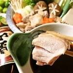 でん - 岡山県産の若鶏を使用した鶏ちり鍋!自家製ポン酢で頂きます。