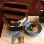 和匠よし乃 - 鯛釜飯 香の物(茄子、きゅうり、梅、玉葱)