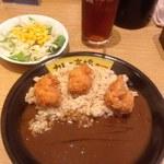 カレーは高橋 - 小盛りカレー玄米サラダセット+鶏唐揚げ