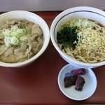 山田うどん - 料理写真:『日替わりセット(ネギ塩豚カルビ丼+冷やしたぬき)』(税込690円)