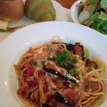 キャセロール - なすとベーコンのトマトスパゲッティー