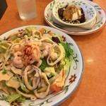 サイゼリヤ - サイゼリヤ仙台長町店で夕食。 シーフードサラダとマロンソースのミルクジェラートを食した。