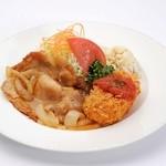 留萌マルシェ - ランチ「豚しょうが焼き&カニクリームコロッケ」