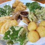 つぶ食いしもと - 天ぷら。真ん中はたかきび春巻き、もちきびとジャガイモコロッケ、おやまぼくち、カボチャ、うこぎ、ひえの白身魚風フライ、えごま、かくまめのさや。
