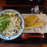 丸亀製麺 - おろし醤油うどん(大盛り)(440円)、さつまいも天(90円)、秋刀魚天(130円)、鮭おむすび(130円)