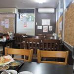 元祖びっくりかにや - テーブルには既に蟹のランチのセットが用意されてて後はセルフ方式でご飯と汁物をとってくる方式になってました。