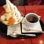 麻布茶房 - 抹茶ババロアサンデーセット(980円)