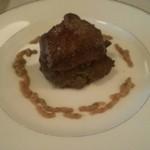 31740621 - 前菜 鹿肉のソテーと美山産しいたけのステーキ