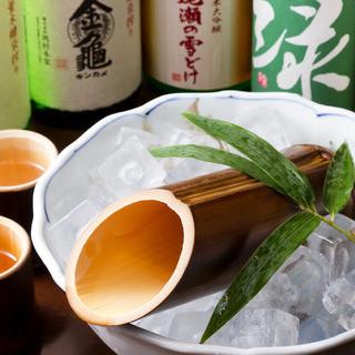 滋賀の銘酒『金亀冷酒』を、焼竹筒で、ご用意しております。