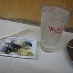 ほてい屋酒店 - レモンサワー(250円)とコハダの酢の物(200円)。