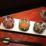 角壱 - 珍味三点盛り;烏賊、うに、牡蠣