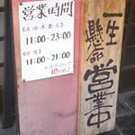 Fukuyoshitei - 店前に貼られている営業時間などです。