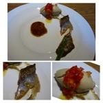 31825473 - ◆秋刀魚のパディラと新ごぼうのピュレ、焼きナスのジェラート添え。                       左手に秋刀魚のワタのソースが添えられています。                       焼きナスのジェラートは風味もよく斬新で美味しい。
