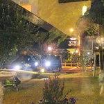 3185639 - 店内からの眺め。中庭越しにライトアップされた今治城が♪