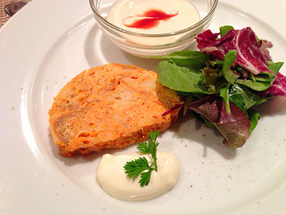 セラヴィーナガノ - ランチコース(1450円) 前菜 ズワイガニ、パプリカ、玉子のテリーヌ アンディーブのポタージュ