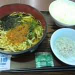 浜名湖サービスエリア 遠州庵 - あおさうどん しらすご飯セット 680円