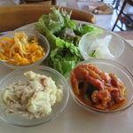 デイライトキッチン - お惣菜デリ・プレート:茄子とスイスチャードのカポナータ、さつまいも(黄金千貫)のクリームチーズ和え、大根と人参のナムル、大根の香の物、グリーン・サラダ、ご飯、味噌汁1