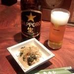 居酒屋もんし - 大瓶ビール+お通し