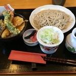 31875070 - 仙台市営地下鉄南北線長町駅が最寄り駅のおおわ田で昼食。                       ランチのBセットの二八蕎麦のざると天丼を食した。                       800円。
