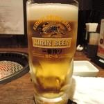 炭火焼肉 ホルモン酒場 金子増太郎 - 生ビール(キリン一番搾り)