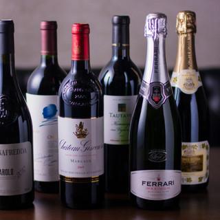 常時70種類を超えるワイン