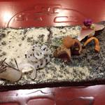 天雅 - お造り ・しめさば、小蕪、もって菊・鰹、水菜、辛子醤油ジュレ・いか、キャビア・ヒラメ、芽ネギ、塩昆布