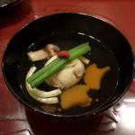 天雅 - お椀 萩真丈、松茸、南瓜、法蓮草、くこの実